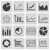 Vector black diagram icons set — Stock Vector