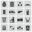 Vector black garbage icons set — Vector de stock