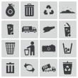 Vector black garbage icons set — Stockvektor