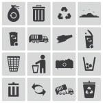 Vector black garbage icons set — Stock Vector