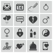 Vector black  love icons set — Stock Vector