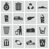 Vector black garbage icons set — Stock Vector