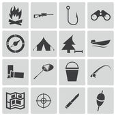 Vector black hunting icons set — Stock Vector