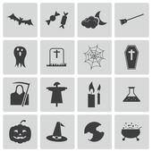 Wektor czarny halloween ikony ustaw — Wektor stockowy