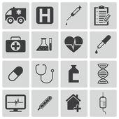Vektor schwarz medizinische Icons set — Stockvektor