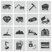 Conjunto de iconos de minería vector negro — Vector de stock