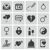 Icônes d'amour vector noir set — Vecteur
