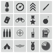 Vector black military icons set — Stock Vector