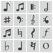 Vector black notes icons set — Stock Vector