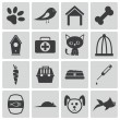 Vector black pet icons set — Stock Vector