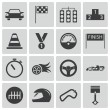 Vector black racing icons set — Stock Vector #31179281