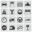 Vector black racing icons set — Stock Vector