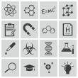 Vector black  science icons set — Stock Vector