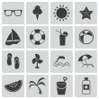 Stock Vector: Vector black summer icons set