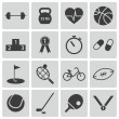 Stock Vector: Vector black sport icons set