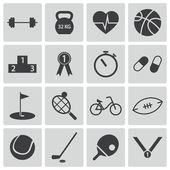 Vector black sport icons set — Stock Vector