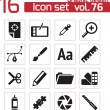 Vector black graphic design icons set — Stok Vektör #31195749