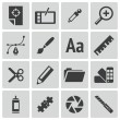 Vector black graphic design icons set — Vettoriale Stock #31320723