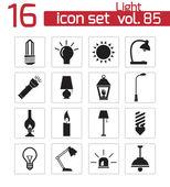 Vector black light icons set — Stock Vector