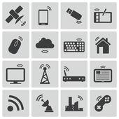 Vector black wireless icons set — Stock Vector