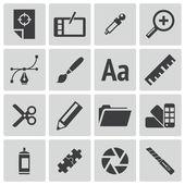 Set di icone vettoriali nero design grafico — Vettoriale Stock