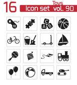Vector black toys icons set — Stock Vector