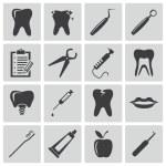 Vector black dental icons set — Stock Vector #31526135