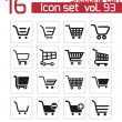 Stock Vector: Vector black shopping cart icons set