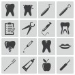 Vector black dental icons set — Stock Vector #31526135