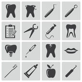 Vector black dental icons set — Stock Vector