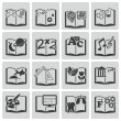 Vector black schoolbooks icon set — Stock Vector
