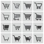 Vector black shopping cart icons set — Stock Vector #31581177