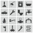 Vector black plumbing icons set — Stock Vector #31581899