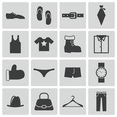 Vector black clothes icons set — Stock Vector