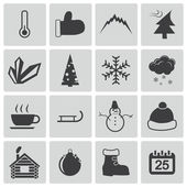 Vector black winter icons set — Stock Vector