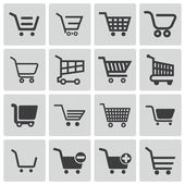 Vector black shopping cart icons set — Stock Vector