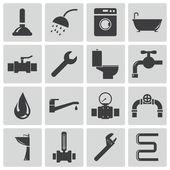 Vector black plumbing icons set — Stock Vector