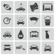Stock Vector: Vector black car wash icons set