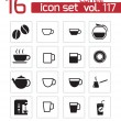 Vector black  coffe   icons set — Stock Vector