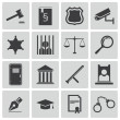 Vector black justice icons set — Stock Vector