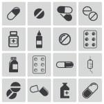 Vector black pills icon set — Stock Vector