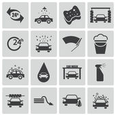 Vector black car wash icons set — Stock Vector