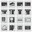 Vector black credit cart icons set — Stock Vector