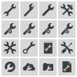 Vector black  settings wrench   icons set — Stock Vector