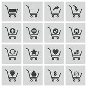 Vector black shopping cart icons set — Stock Vector