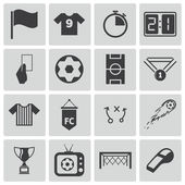 Vector black soccer icons set — Stock Vector