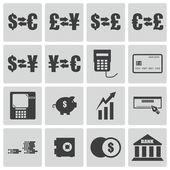 Vector black bank icons set — Stock Vector