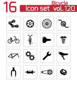 Vector black bicycle part icons set — Stock Vector