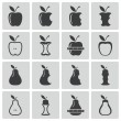 Vector black apple and pear icons set — Stock Vector #33076309