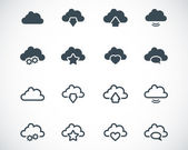 Vector black clouds icons set — Vettoriale Stock